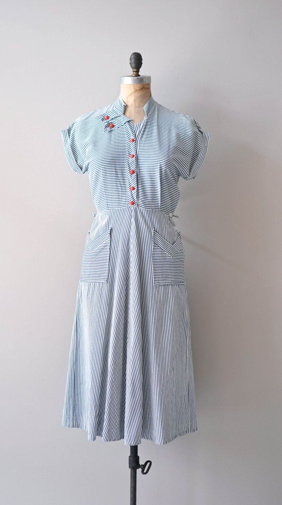 vintage 40s dress / nautical 1940s dress / Seafarer Stripe dress ...