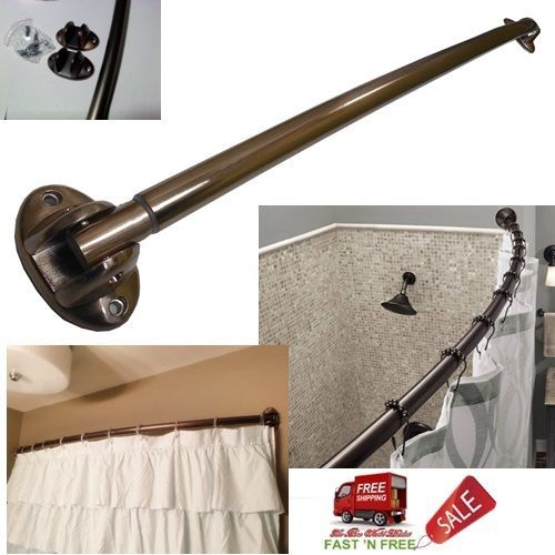 Adjustable Bronze Curved Shower Curtain Rod 40 72 Inch Wall Mount
