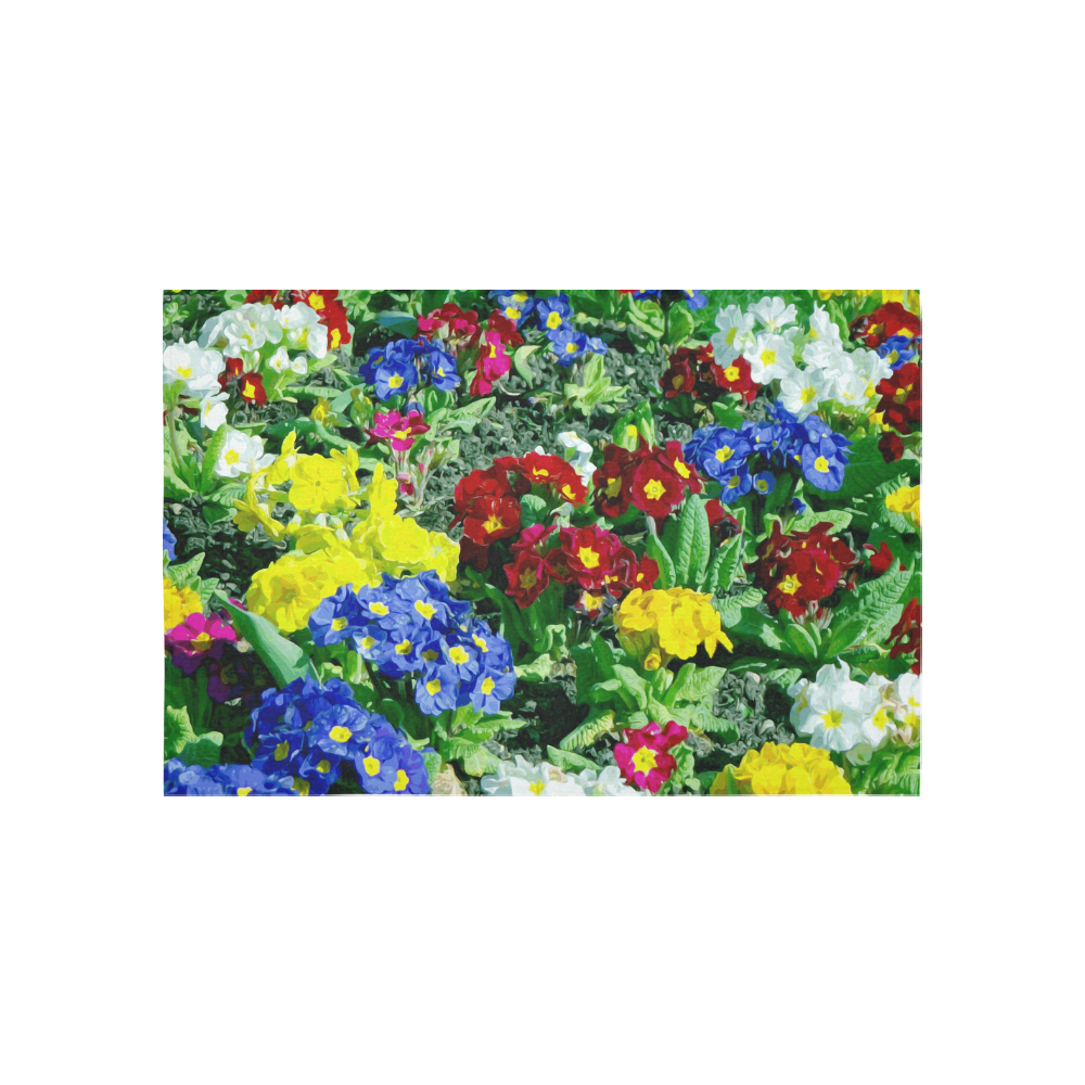 Red Blue Yellow Colorful Floral Garden Cotton Linen Wall Tapestry 60