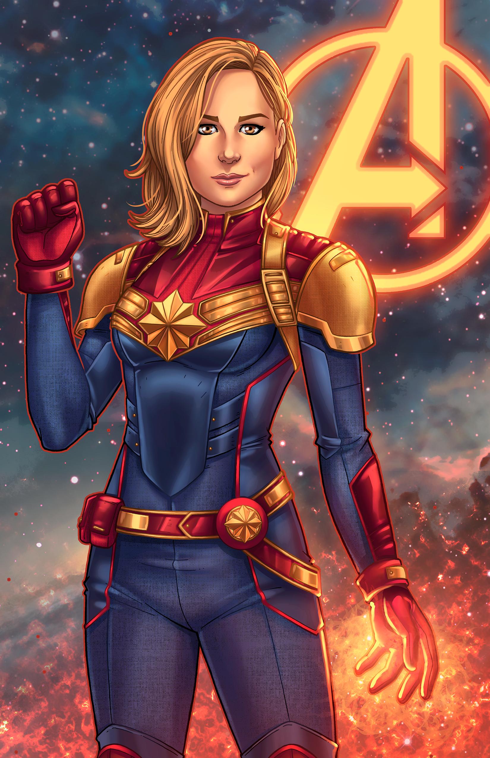 Comic Aun Book Cover Illustration Ver ~ Mcu captain marvel concept art by