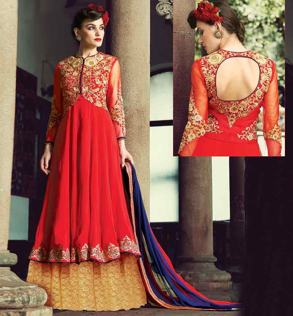 Red heavy bridal anarkali frock 7 suitanarkali in - Anarkali Frock Design Inspired From Bollywood Rtang2004