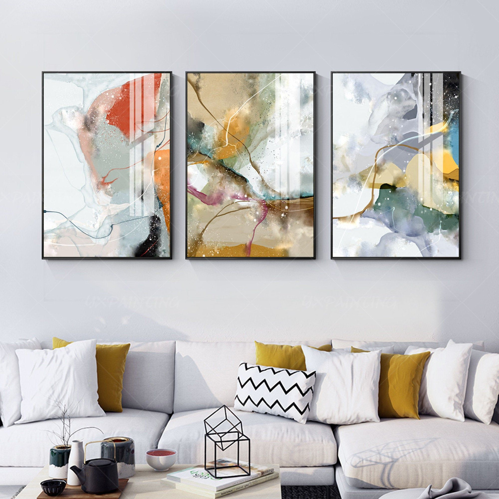 Framed Painting Set Of 3 Wall Art Abstract Print Art Etsy Abstract Wall Painting Painting Frames Wall Decor Living Room