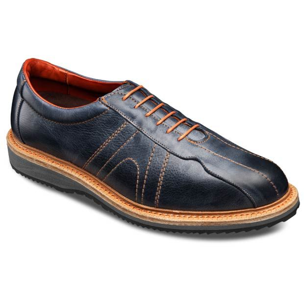 Allen Edmonds Voyager Walking Shoes 6183 Navy Leather With Orange