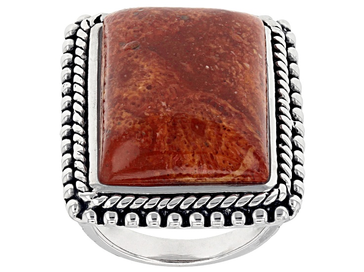 PreOwned Rectangle Red Sponge Coral Rhodium Over Sterling