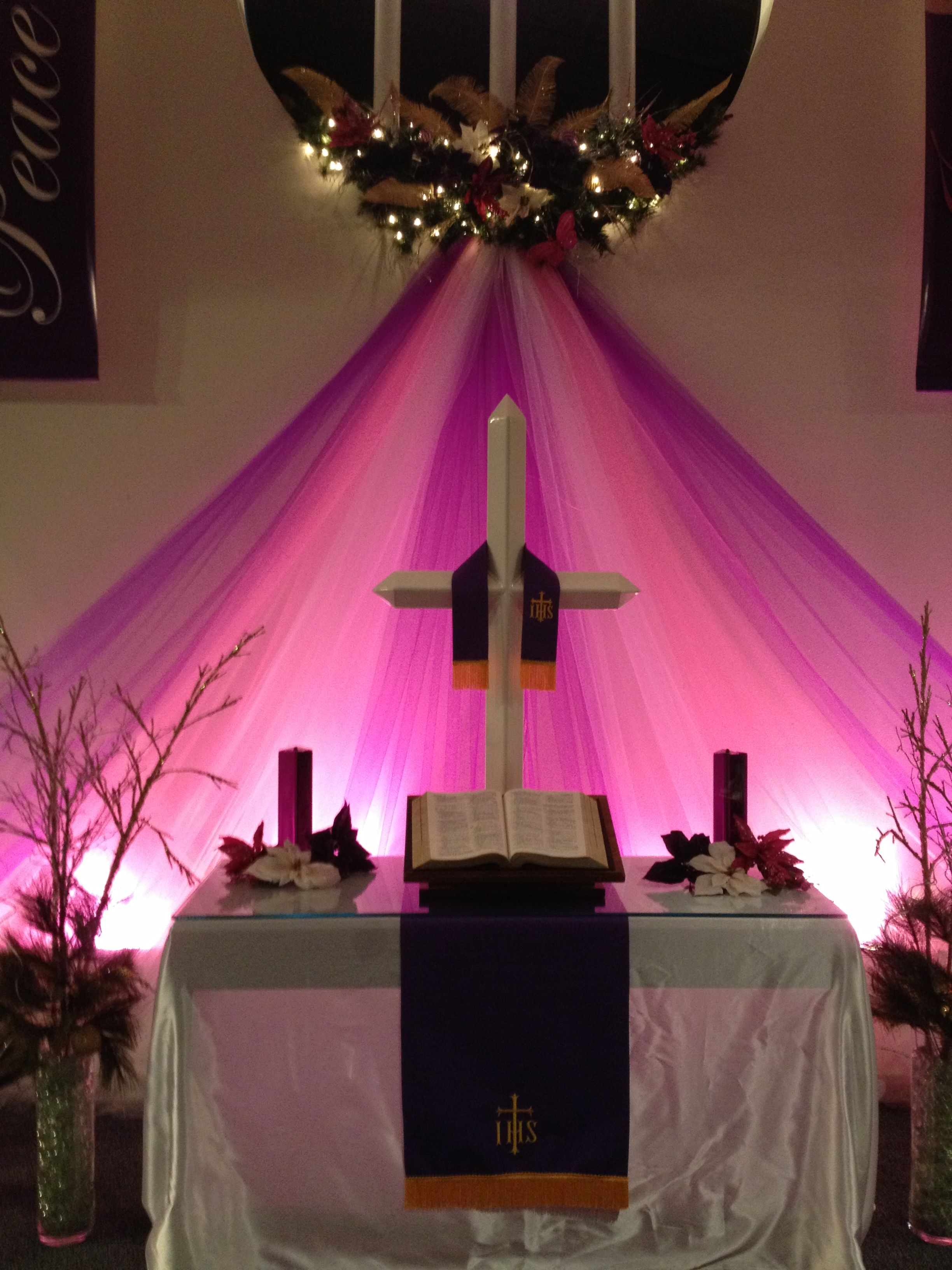Advent and christmas sanctuary decor church decorations for Altar wall decoration