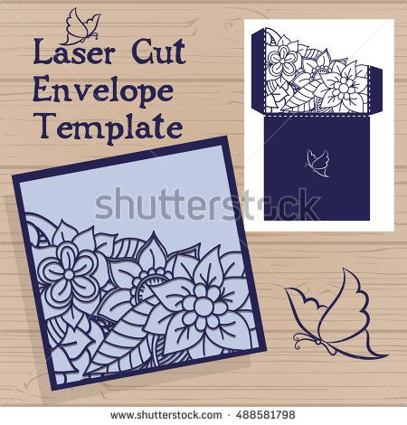 Lasercut vector wedding invitation template wedding invitation lasercut vector wedding invitation template wedding invitation envelope with flowers for laser cutting lace gate foldsser cut vector stopboris Image collections