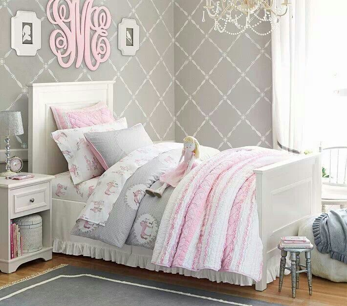 Great Such A Pretty Little Girls Room; Quilts, White Sheers, Monogram.