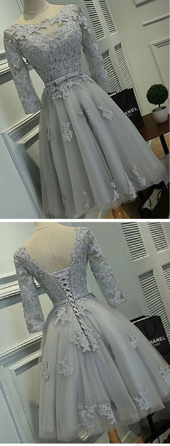 Half sleeve silver tulle with lace appliqued short prom dresses hot