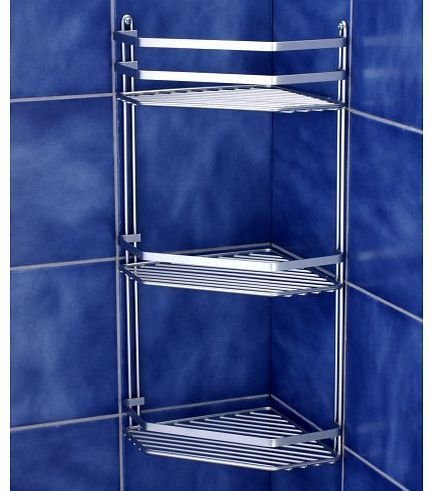 Norwood Satina Wire Triple Shelf Corner Shower Basket Chrome BLUE