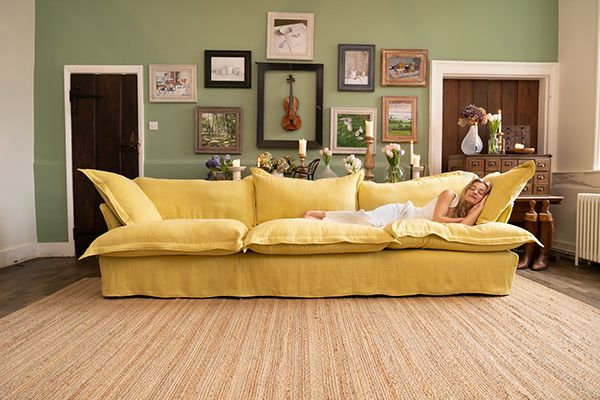 Marnie snoozing in our Large Song Sofa in 100% Linen Citrine.  #Maker&Son #Luxury #LuxuryFurniture #NaturalFurniture #HandmadeFurniture #YellowFurniture #YellowSofa #LinenFurniture #HomeDecor #HouseDecor #HomeStyle #HouseStyle #InteriorDesign #DesignerFurniture #LivingRoomDecor #LivingRoomStyle #LivingRoomFurniture