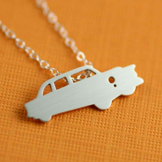 My dad had a '59 Chevy. I'd love to have this necklace! 1950's Hot Rod Silhouette Necklace in Silver by ANORIGINALJEWELRY.