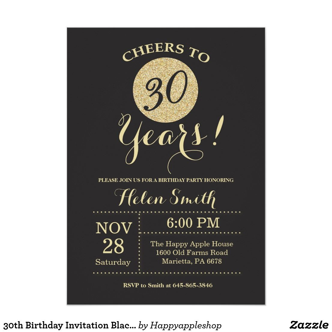 30th Birthday Invitation Black And Gold Glitter Card For Further Customization Please Click The Customize