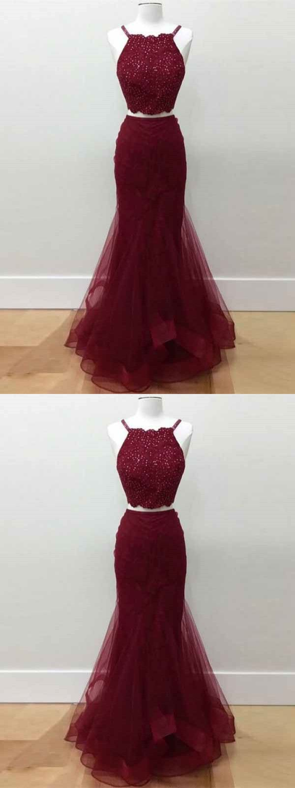 Burgundy two piece prom dress mermaid lace cheap prom dress vb