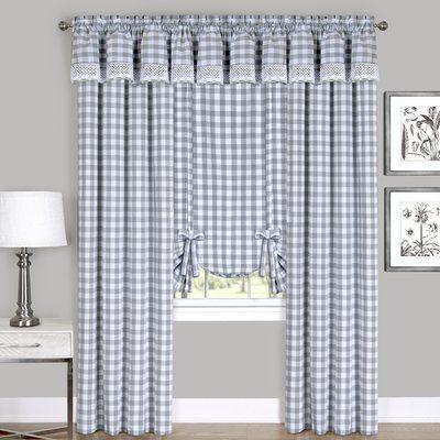 August Grove Jarrett Farmhouse Kitchen Curtain Size 42 W X 84 L Colour Grey In 2020 Kitchen Curtains