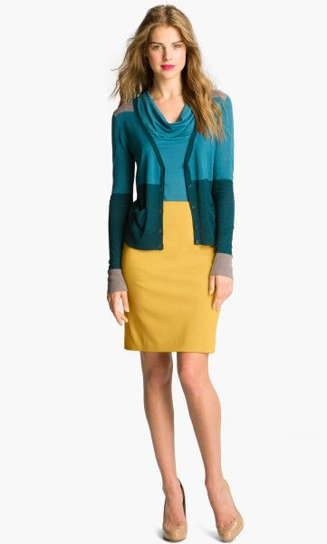 1c5192a69 Halogen Ponte Pencil Skirt in Yellow (gold shine) - Lyst   Color ...