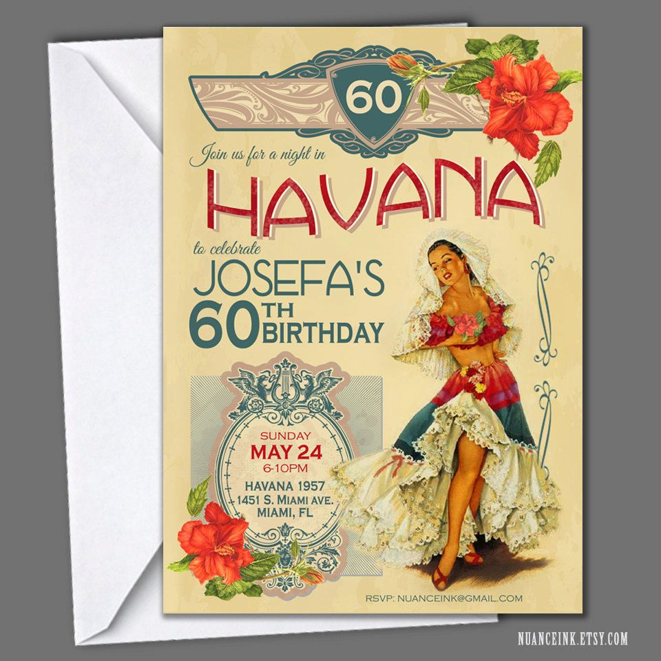 Havana Nights Cuban Birthday Party Invitations Printed Or Digital