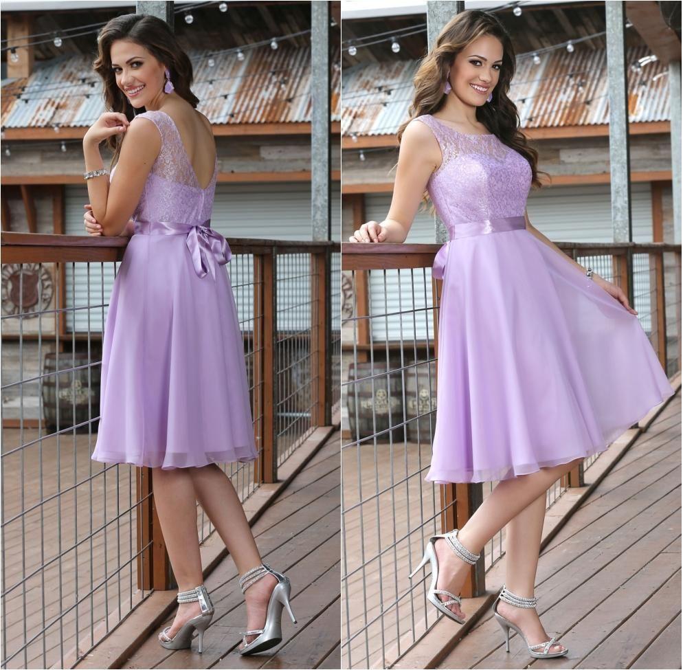 2015 Beach Lavender Junior Bridesmaid Dresses Chiffon Lace with Sash ...