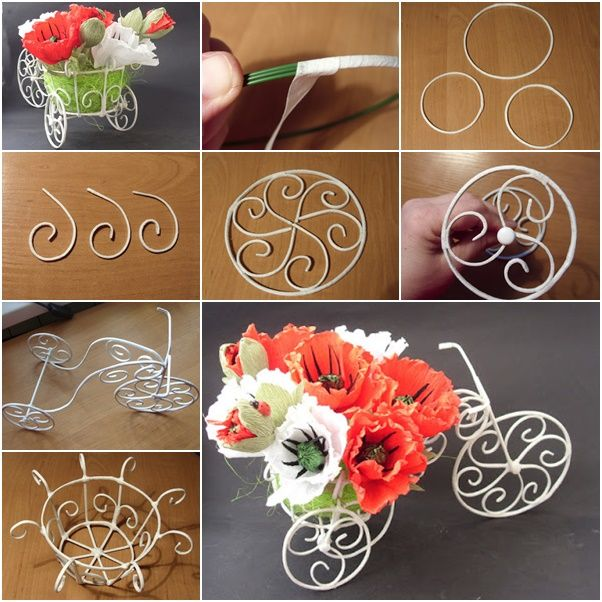 How to DIY Decorative Wire Cart Planter for Flower Bouquet   DIY ...