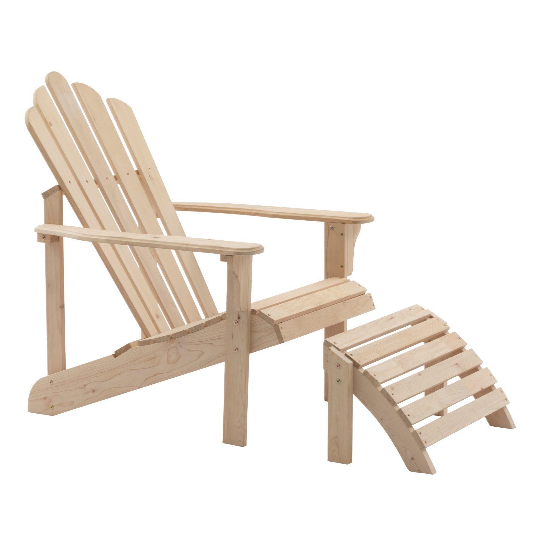 Coral Coast Hubbard Wooden Adirondack Chair Ottoman Unfinished