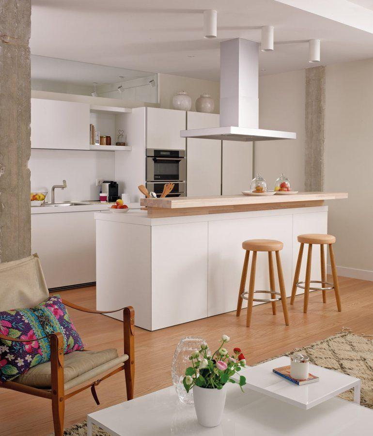 Cocina con isla moderna cocinas pinterest ideas para for Cocinas pequenas con isla