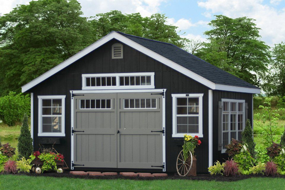 Black Shed White Trim Ditch The Other Color Doors And Bed Deco In Front Backyard Sheds Building A Shed Diy Shed Plans