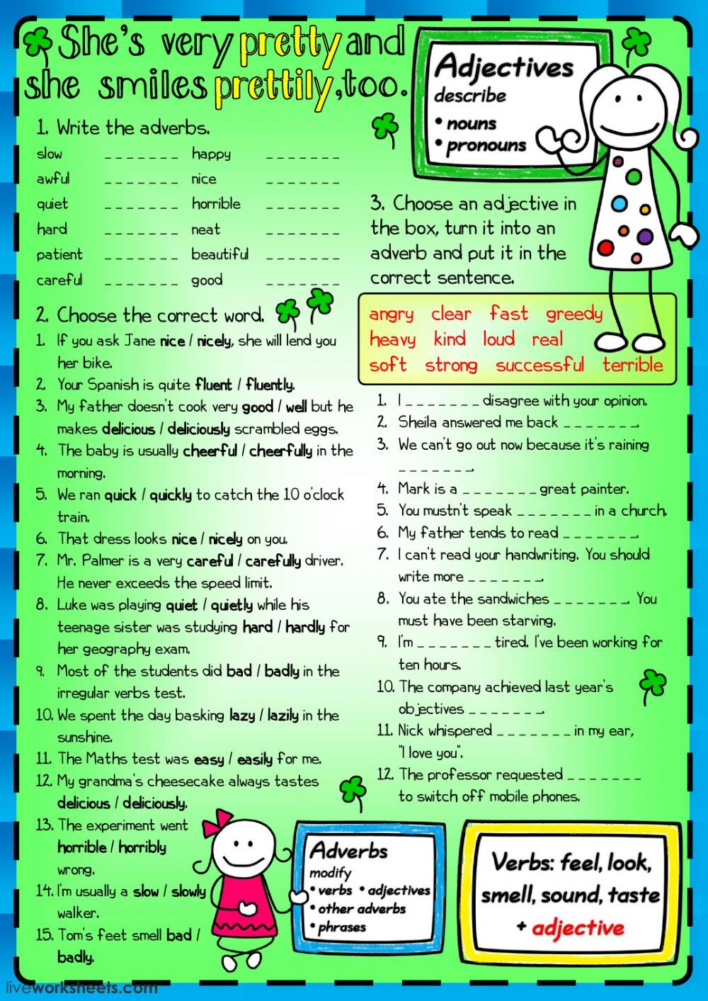Adjectives And Adverbs Interactive And Downloadable Worksheet You Can Do The Exercises Online Or Download The Worksheet As Pdf Esl Blog