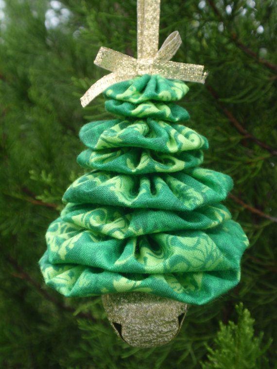 Green Tone Print Jingle Bell Yo Yo Christmas Tree by SursyShop, $5.00 | Handmade christmas ...