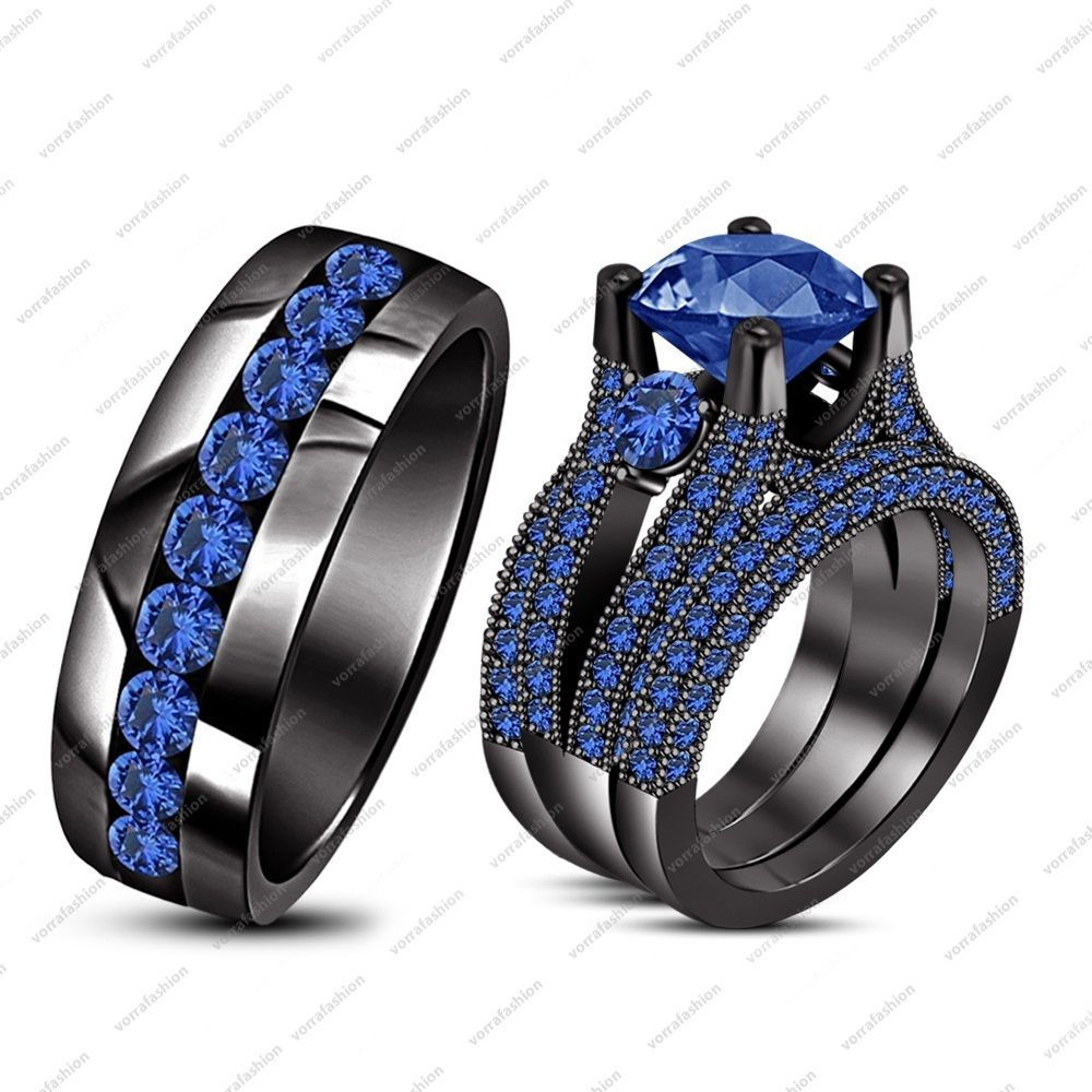 Blue Sapphire Black Gold Wedding Matching Band Engagement