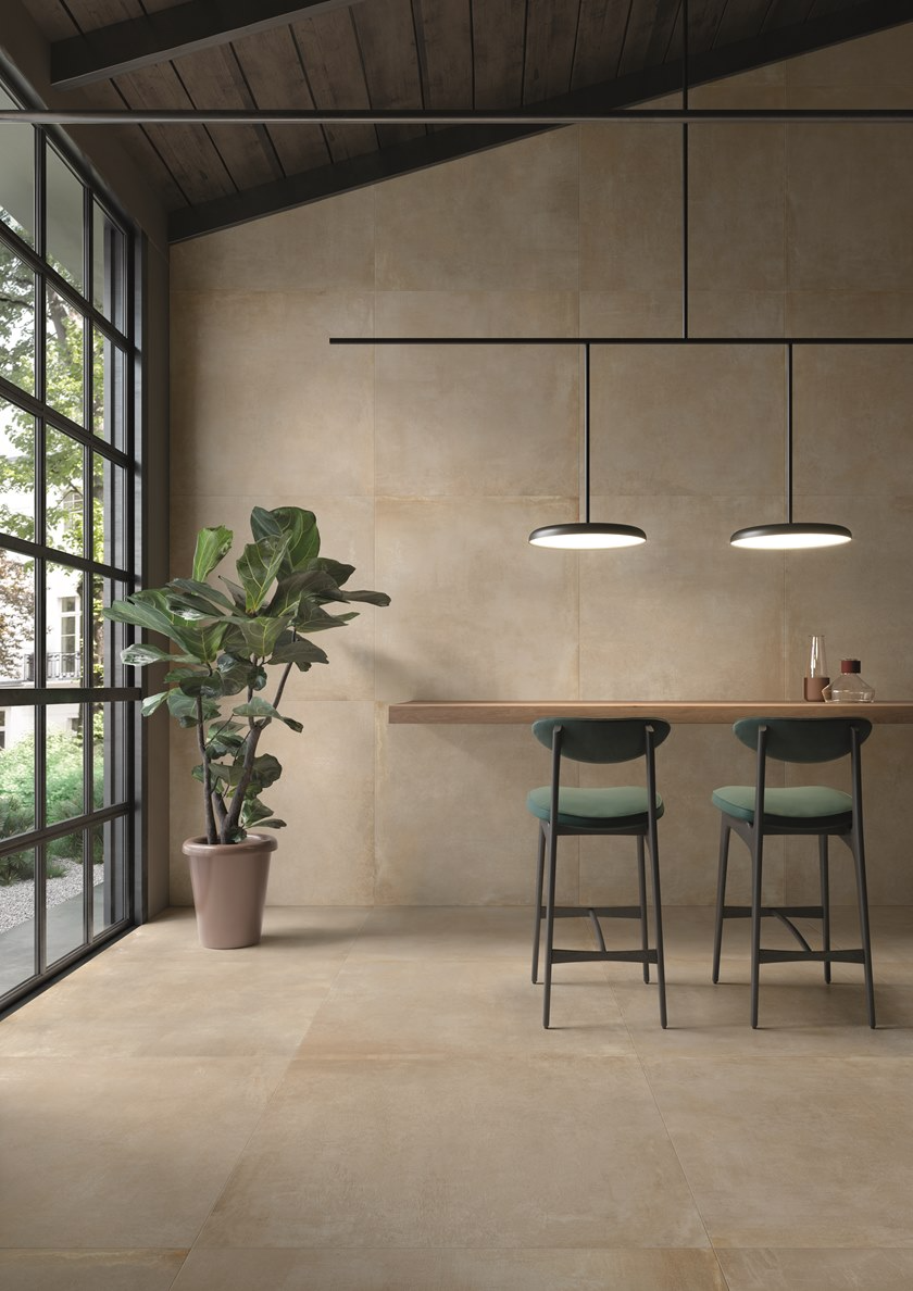 Porcelain Stoneware Wall Floor Tiles With Concrete Effect Noord Gold Noord Collection By Ceram In 2020 Wall And Floor Tiles Minimalism Interior Polished Concrete Tiles