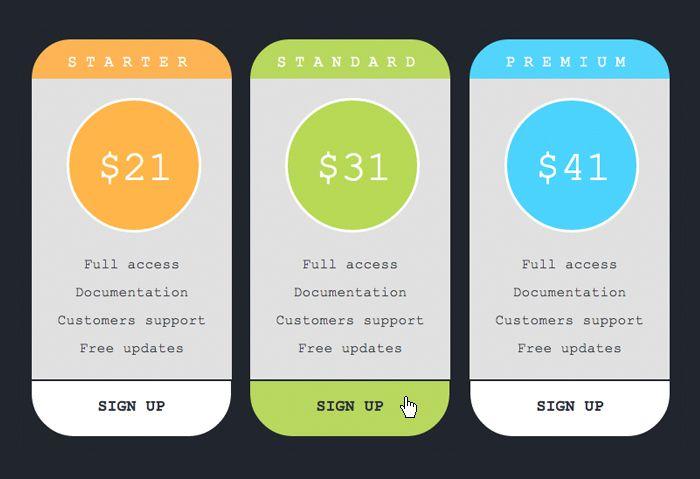 Adobe Muse Pricing Table | Adobe Muse Tips & Tutorials