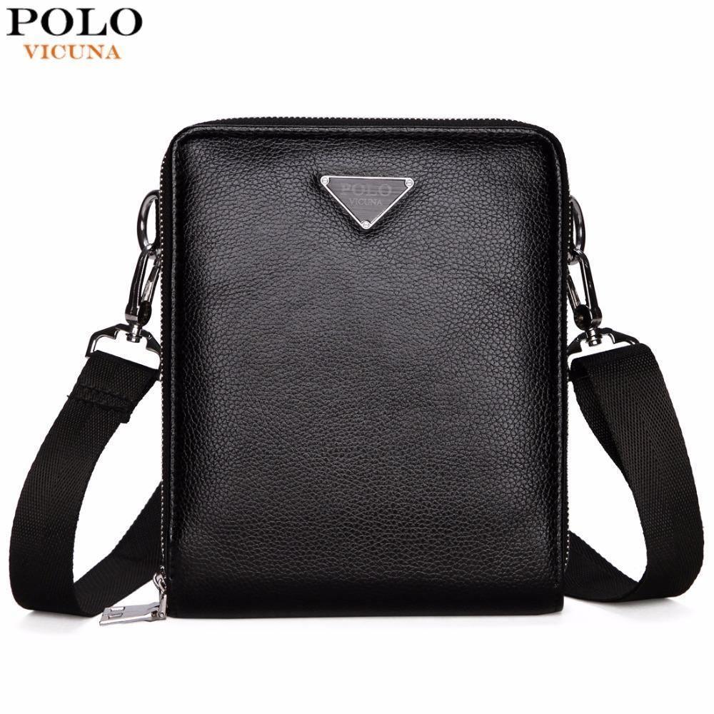 372847fca4b4 Double Pocket Men Bag Messenger Bags Leather Men Shoulder Bag Business  Handbag