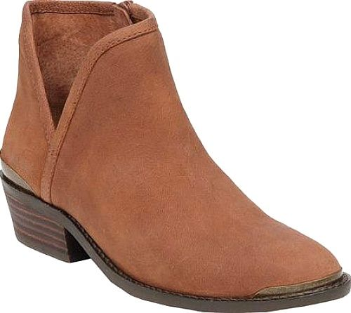 Finishline Online Lucky Brand Giovanna Cut Out Bootie(Women's) -Dark Camel Leather Cheap Store Outlet For Nice Limited Edition Sale Online Sale Shop 5G42CUqU