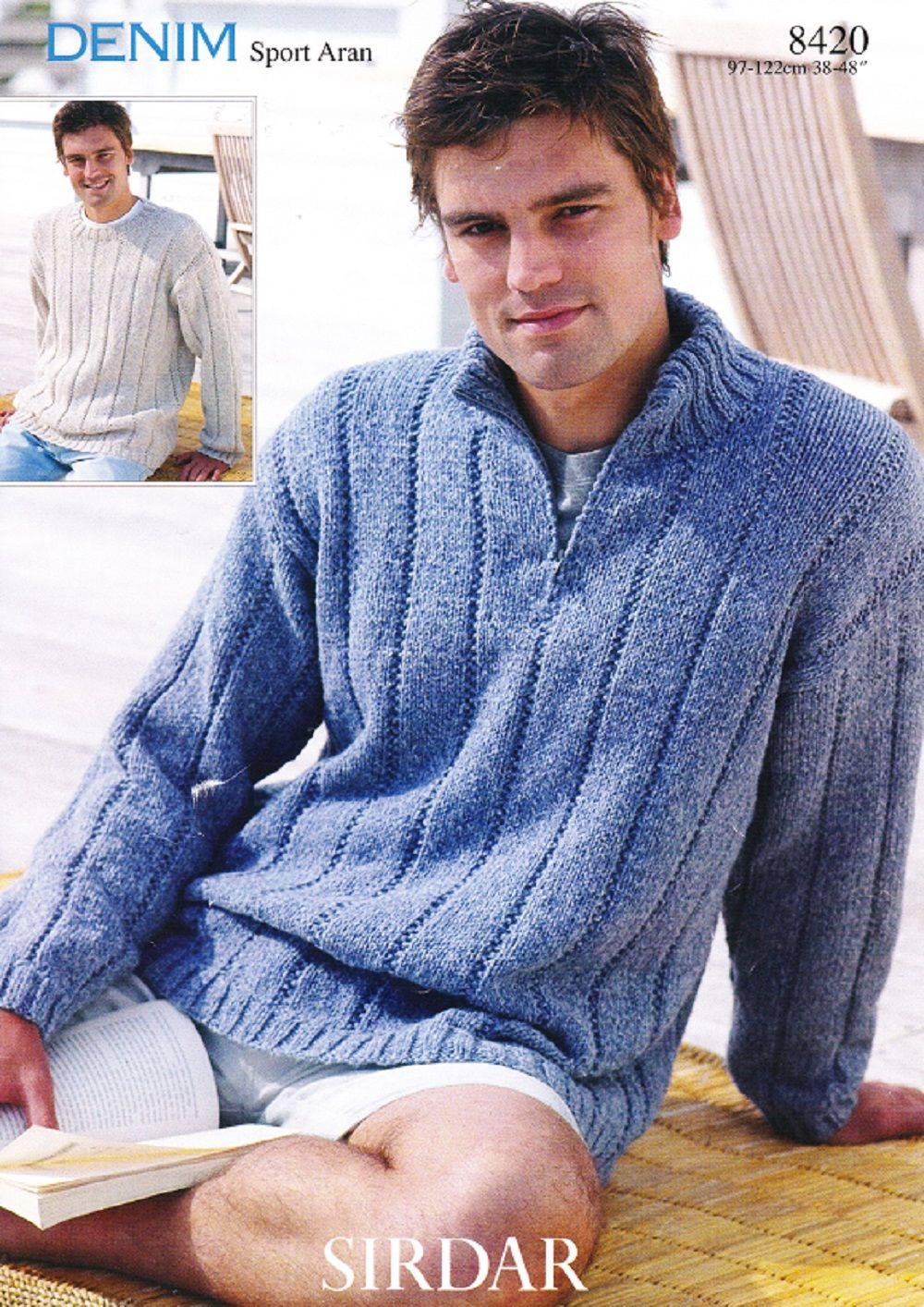 Sirdar Knitting Pattern 8420, Aran, Mans Round & Zip Neck Sweaters ...