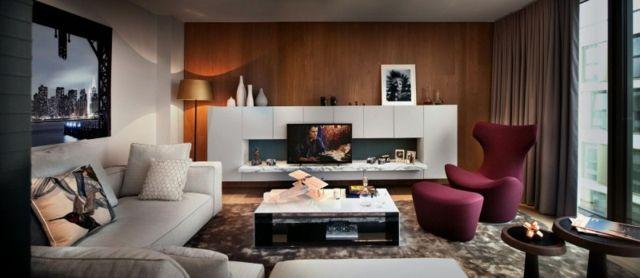 Gorgeous Dark Living Room Interior Nuance with Brick Wallpaper - deko ideen f amp uuml r wohnzimmer