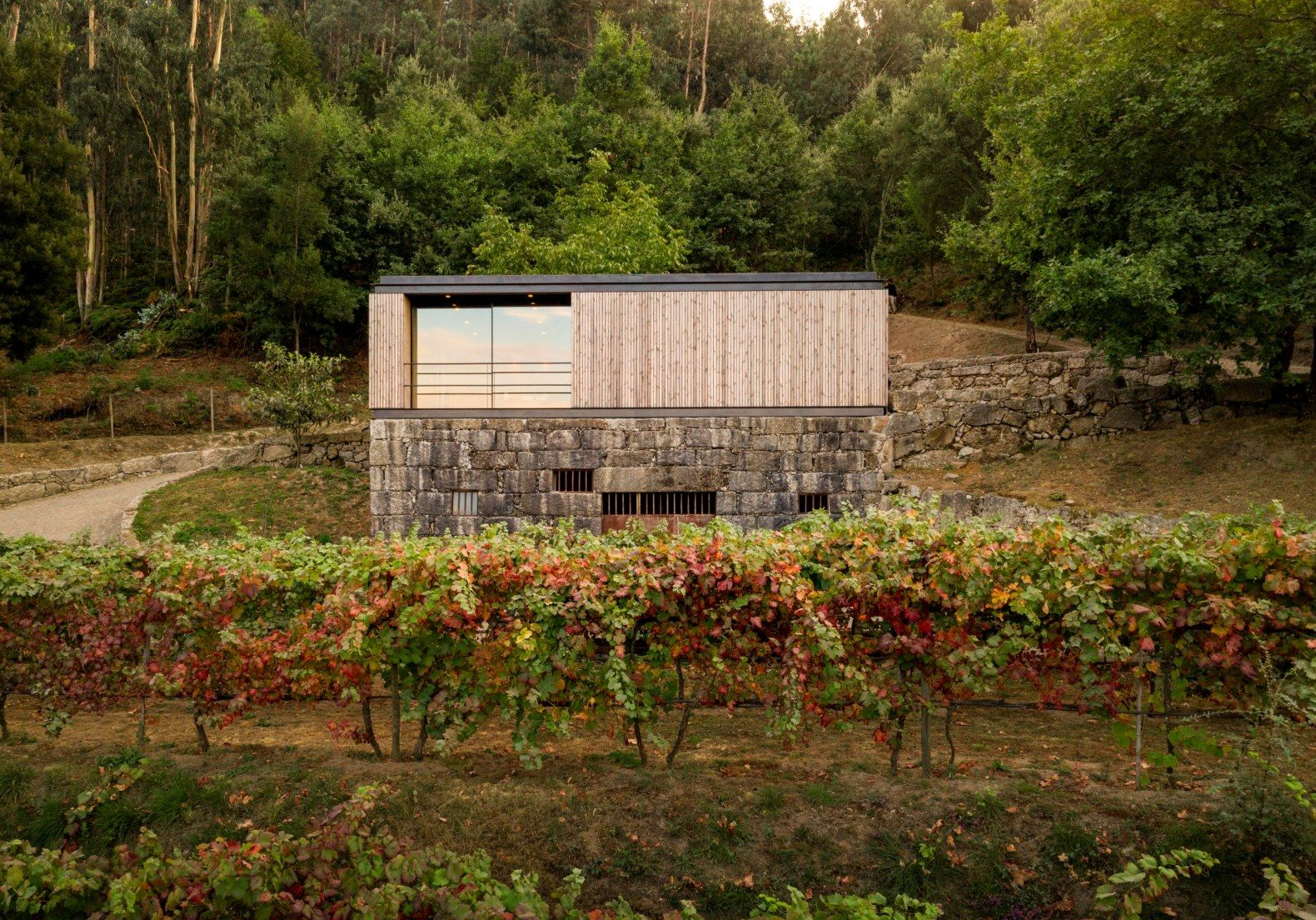 A Micro Home With A Green Roof Sits Atop A Granite Wine