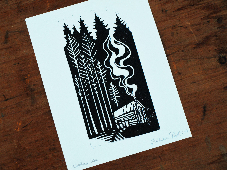 Photo of Woodland Cabin – Rustic Linocut Block Print – Cabin Art – Log Cabin Art – Rustic Home Decor
