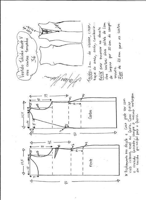 Patrón vestido escote en espalda V   nähen   Pinterest   Nähen ...
