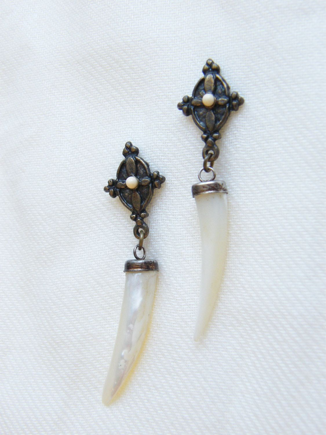 Beautilful Mother of Pearl Tooth Earrings by LauraBijoux on Etsy