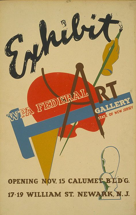 Poster Announcing Opening Of Exhibit WPA Art At The Federal Gallery 17 19 William St Description From