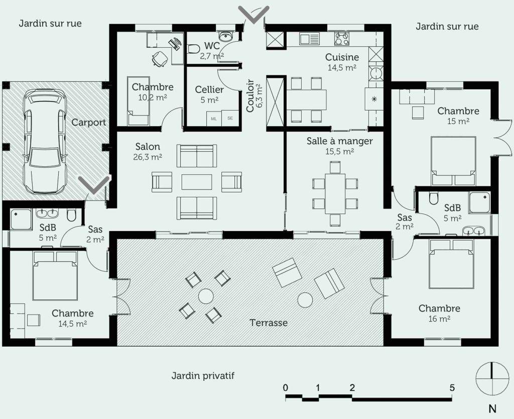 Plan Maison D Architecte 200m2 Plan De La Maison Plan Maison 120m2 Plan Maison En U Plan Maison Plain Pied