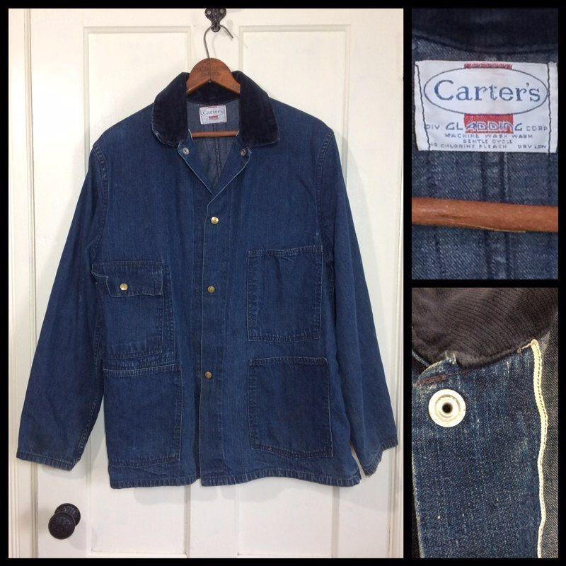 1960 S Indigo Blue Denim Carter S Chore Jacket Looks Etsy Vintage Denim Chore Jacket Denim