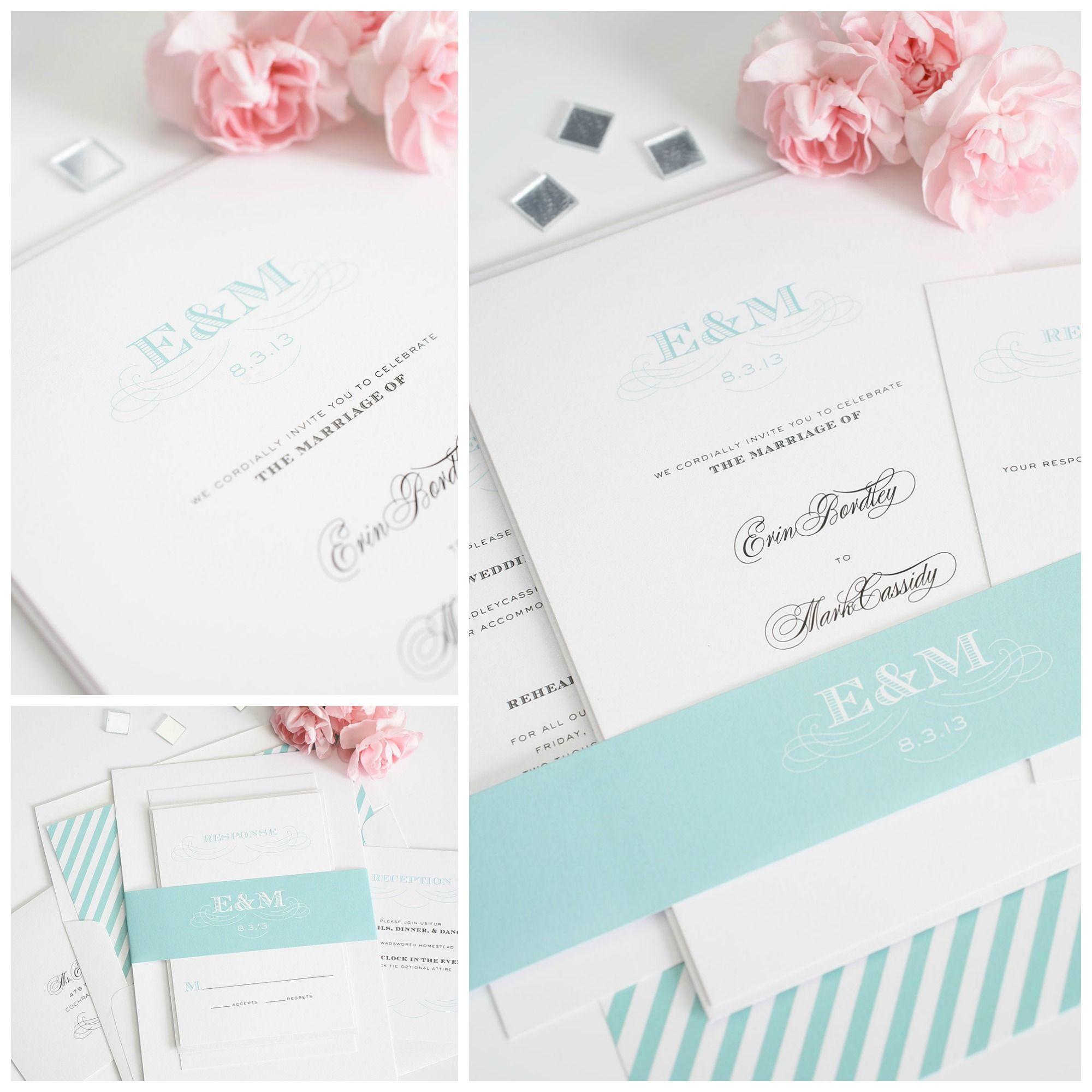 Aquamarine Wedding Inspiration Invitations