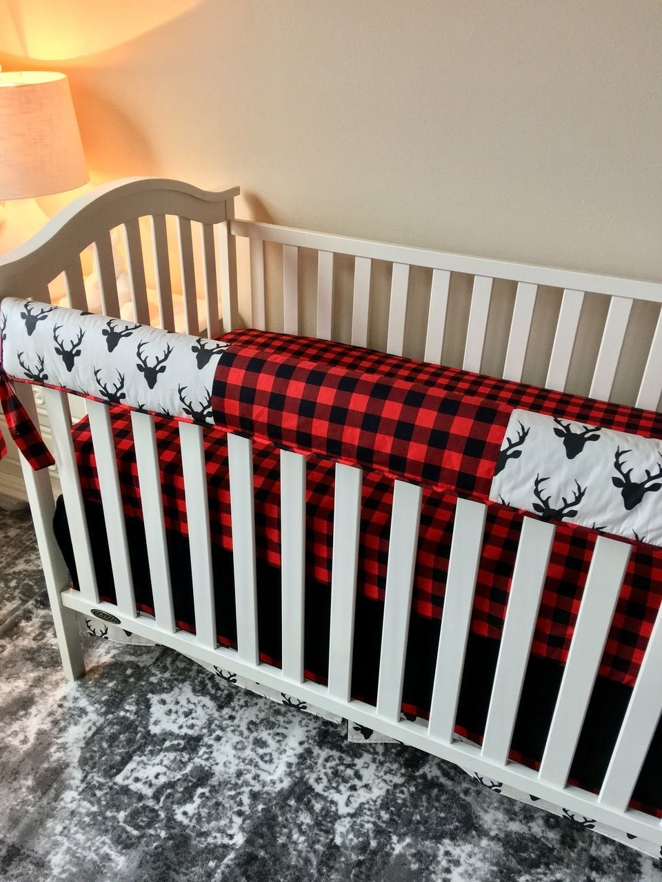 Ivory with Black Deer and Red and Black Buffalo Check
