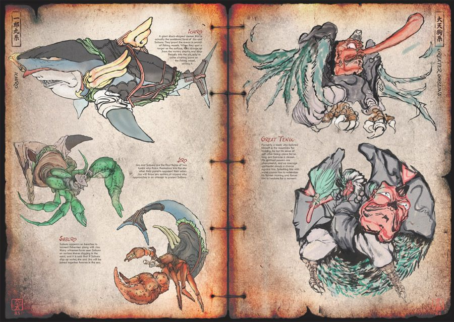 past sample page from the okami art book the game was based on sample page from the aring140kami art book the game was based on ese myths legends and folklore and featured several demons and spirits such as the great