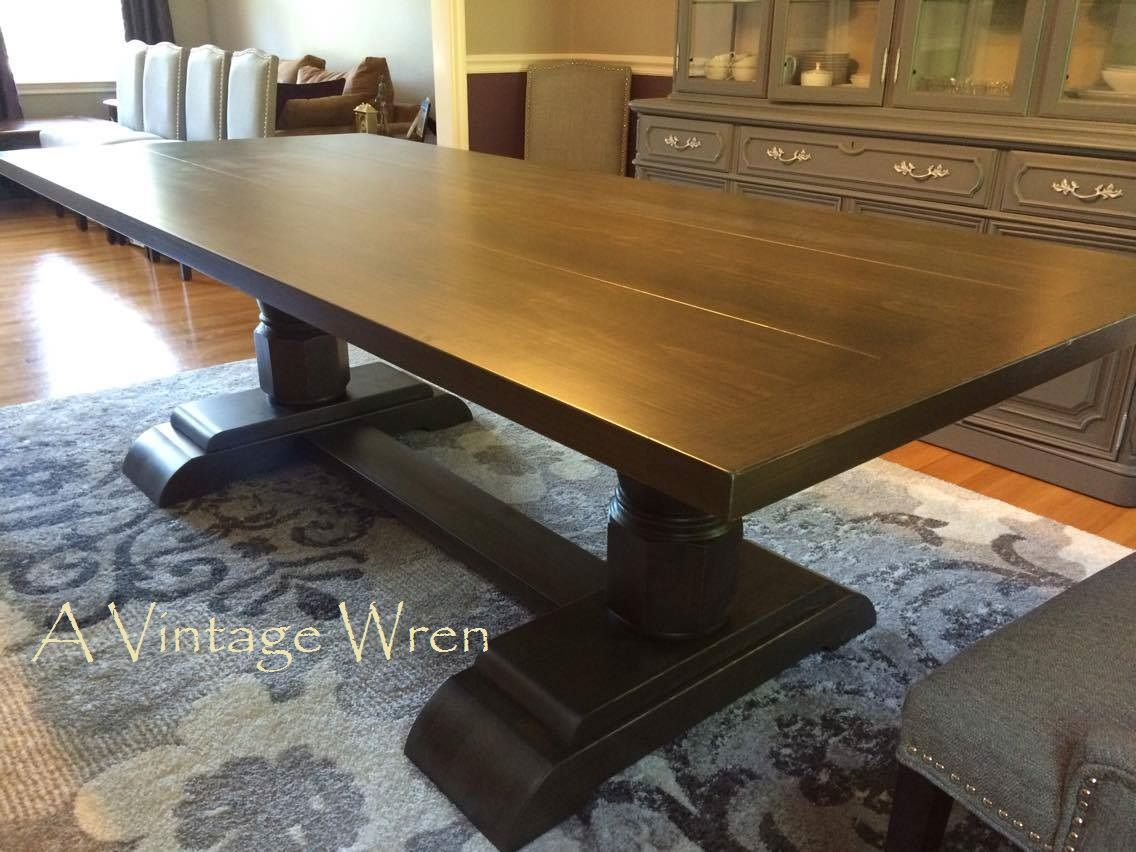 A Custom Made 8 Foot Long Trestle Style Table With Chunky Pedestal Column  Legs. This