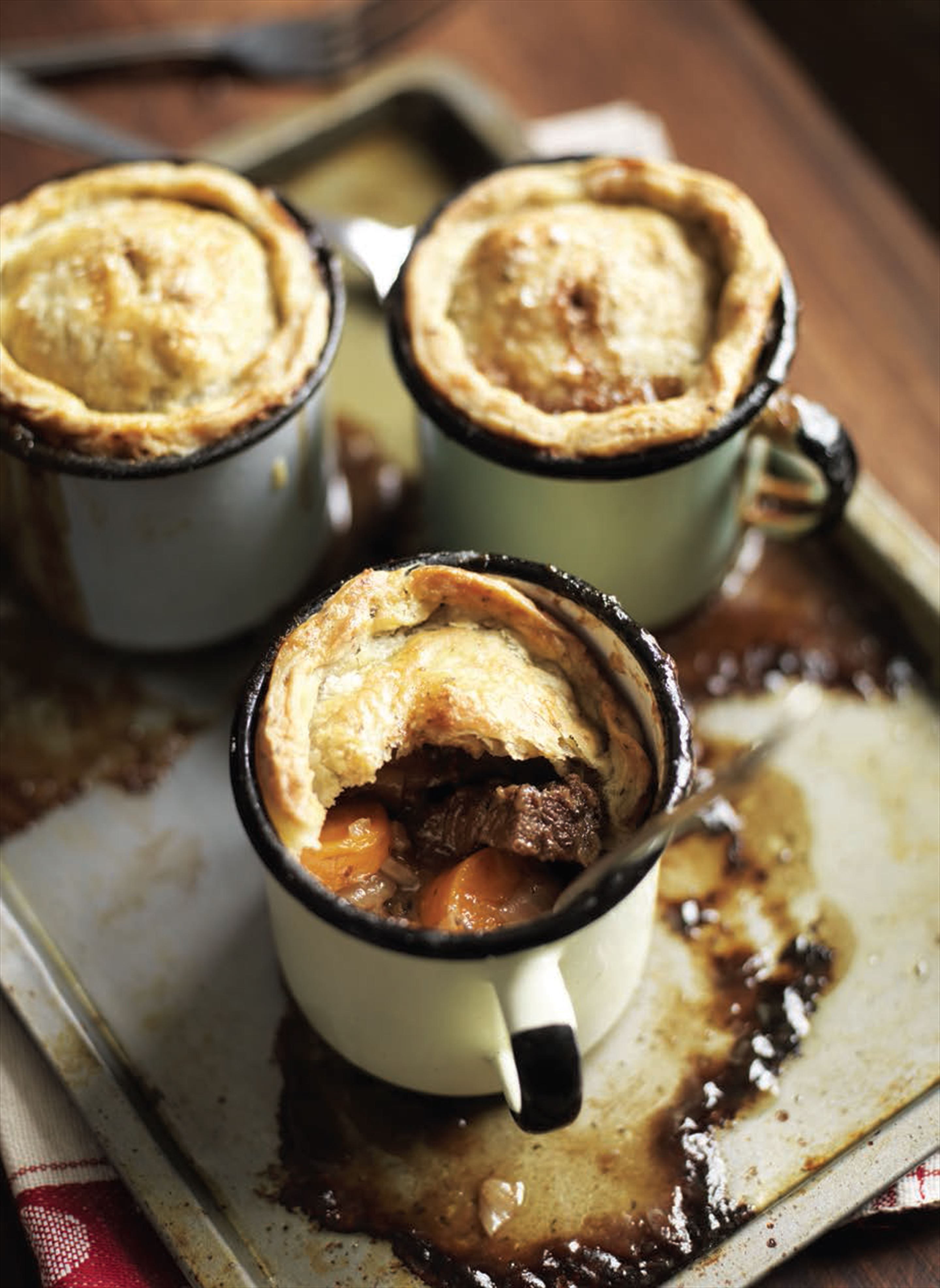Steak and ale pies with herby rough puff pastry recipe ...