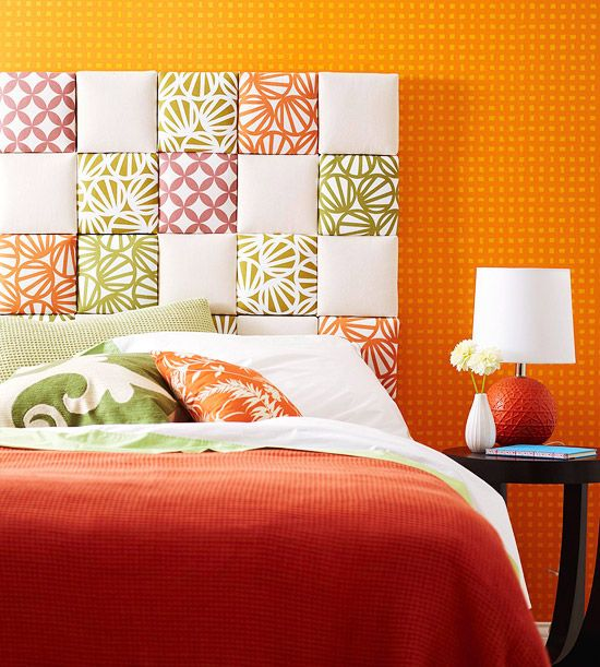 Upholstered Headboard.. Not so much the orange wall..