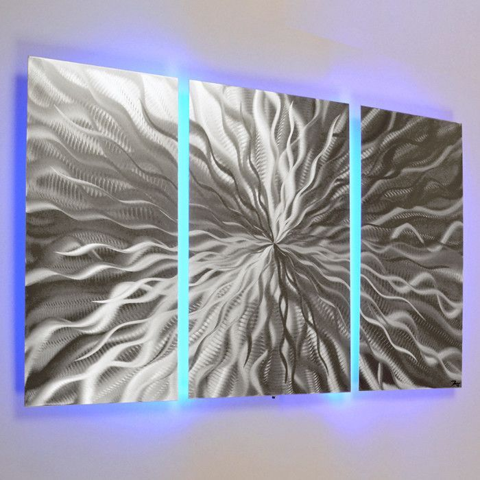 Cosmic Energy 3 Panel 40 X24 Abstract Metal Wall Art With Led Infused Color Changing L Wall Sculpture Art Abstract Metal Wall Art Metal Sculpture Wall Art