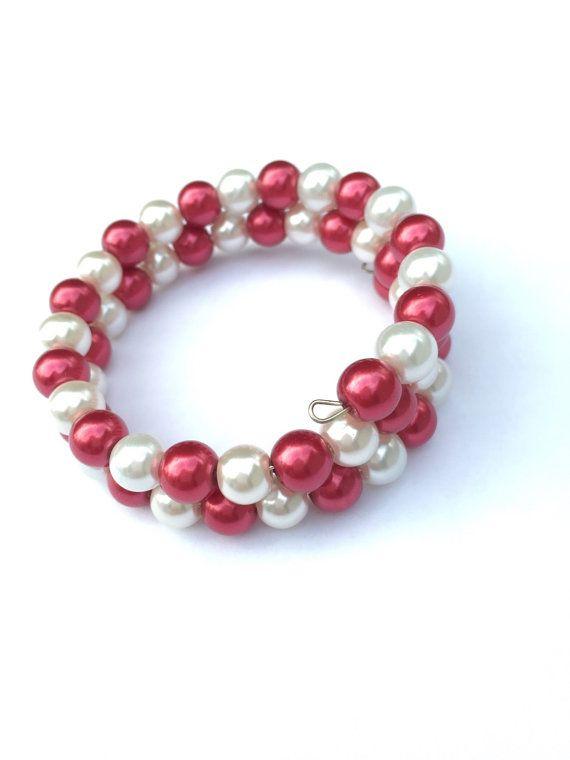 Pink & White Pearl Beaded Bracelet, Pearl Bracelet, Memory Wire Bracelet…