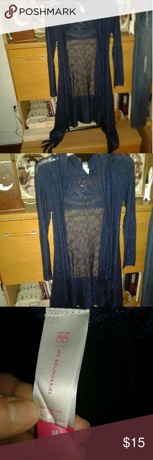 Sheer Cardigan NWT | Long fringes, Navy blue and FFA